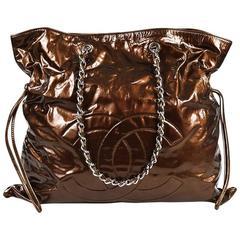 """Chanel Bronze Patent Leather 'CC' Classic Chain """"Bon Bon"""" Tote"""