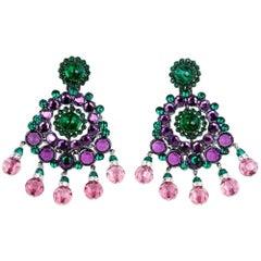 Larry Vrba Huge Purple and Green Crystal Drop  Earrings