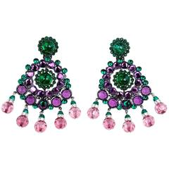 Larry Vrba Huge Purple and Green Crystal Drop  Earrings