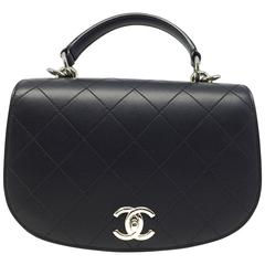 Chanel Black Quilting Calfskin Leather Silver Metal Chain Shoulder Bag