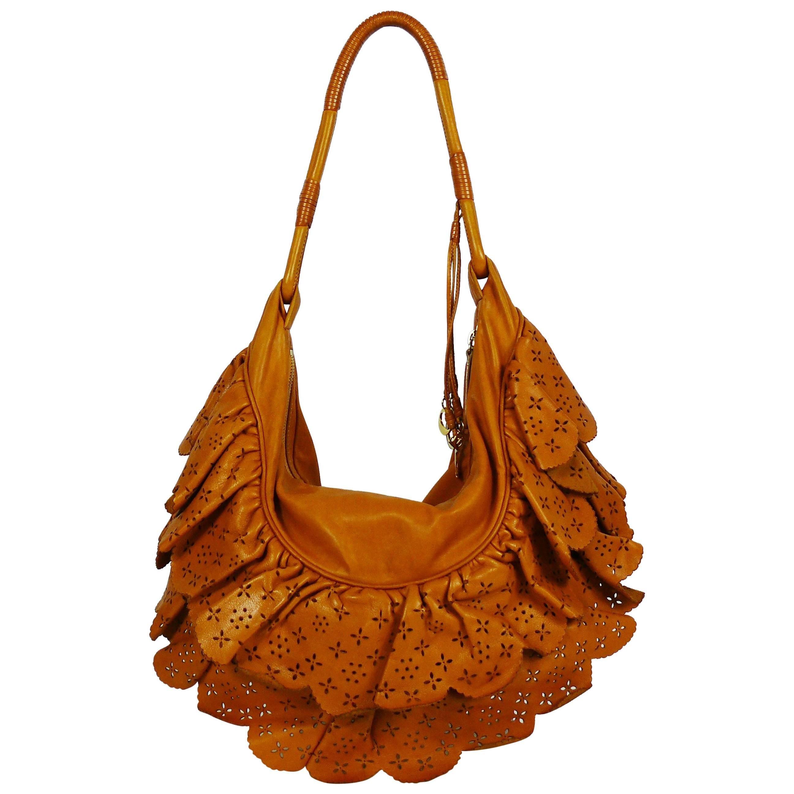 Christian Dior Washed Cognac Leather Gypsy Ruffle Bag