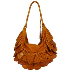 Christian Dior Washed Cognac Leather Gypsy Ruffle Bag