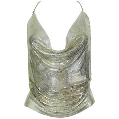 Paco Rabanne Vintage Silver Metal Mesh Draped Backless Top Size S