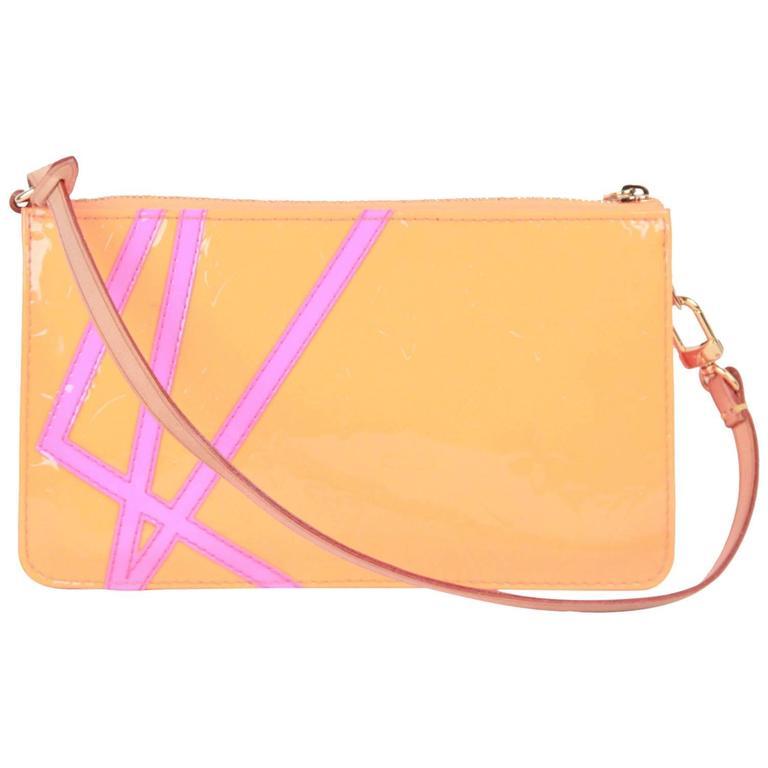 641c395226d8 LOUIS VUITTON ROBERT WILSON Fluo Orange Monogram Vernis LEXINGTON POCHETTE  Bag For Sale