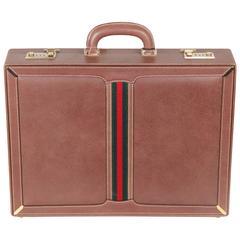 GUCCI VINTAGE Tan Leather HARD SIDE BRIEFCASE Work Bag w/ Stripes