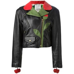 1989 MOSCHINO  'Flower' biker leather jacket