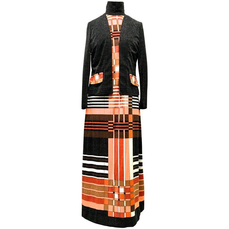Mr. Dino Geometric Mod Maxi Dress with Matching Jacket