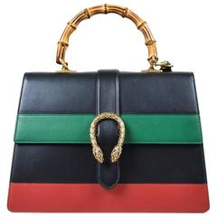 "Gucci NWOT Black Green & Red Leather Web Stripe Large ""Dionysus Moon"" Bag"