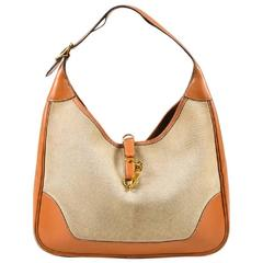 "Vintage Hermes Beige Tan Box Calf Leather Canvas ""Trim I"" Shoulder Bag"