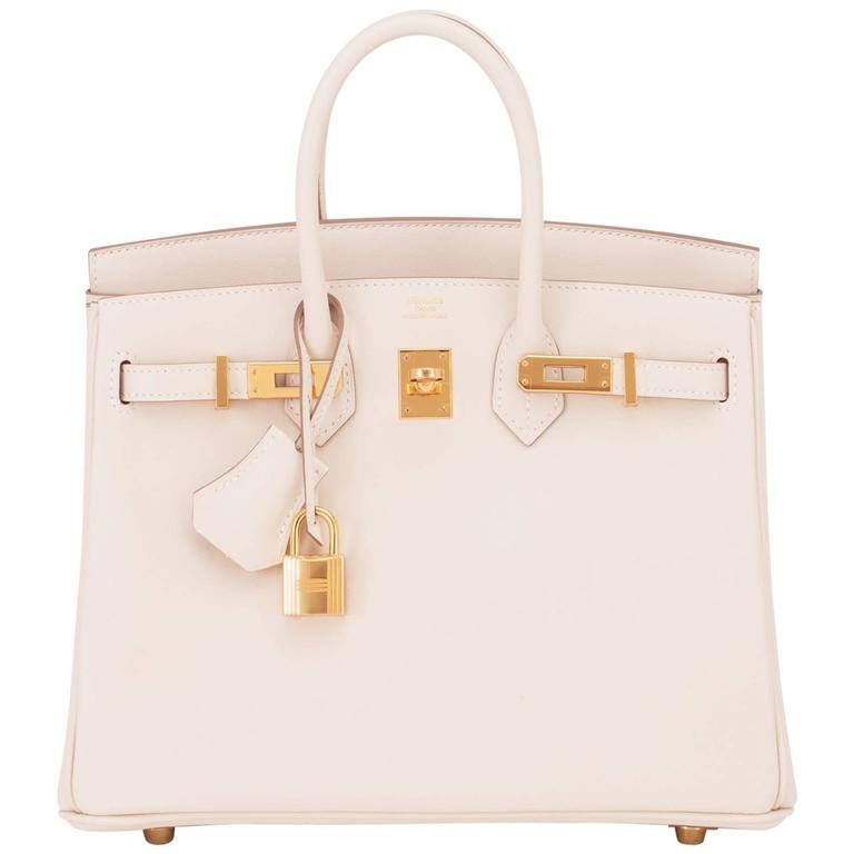 4b204b8eadd2 Hermes Craie 25cm Off White Swift Gold Hardware A Stamp Baby Birkin Bag For  Sale