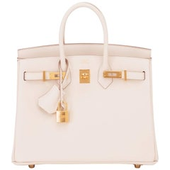 Hermes Craie Baby Birkin 25cm Off White Swift Gold Hardware A Stamp
