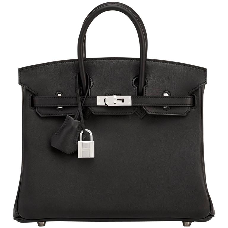 d2ec0e1fccdf Hermes Black 25cm Swift Palladium Hardware A Stamp Baby Birkin Bag at  1stdibs