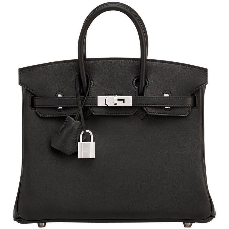 Hermes Black 25cm Swift Palladium Hardware A Stamp Baby Birkin Bag