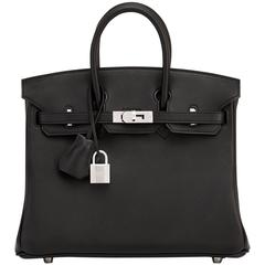 Hermes Black Baby Birkin 25cm Swift Palladium Hardware A Stamp