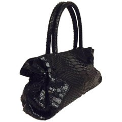 Carlos Falchi Black Alligator Two Handle Handbag