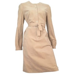 Halston Ultrasuede Belted Dress Size Large.