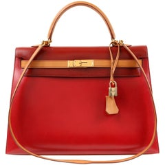 Hermès Tri Color Box Calf 35 cm Kelly Sellier- Red, Rouge H, Gold