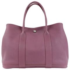 Hermès Violet All Leather Garden Party Tote- Togo, PHW