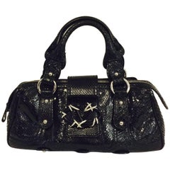 Valentino Black Python Satchel With Double Straps and Silver Tone Hardware