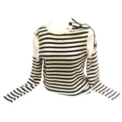 Chanel Nautical Theme Striped Wool Italian Sweater with Chanel Buttons