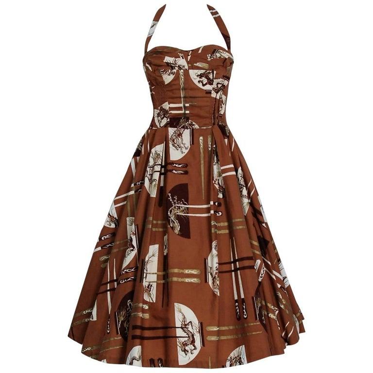 1950's Alfred Shaheen Hawaiian Metallic Brown Novelty Print Cotton Halter Dress