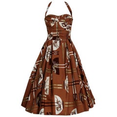 1950's Alfred Shaheen Hawaiian Metallic Brown Novelty Print Cotton Halter Dress