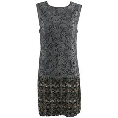 Dolce and Gabbana Grey Lace and Tweed Dress
