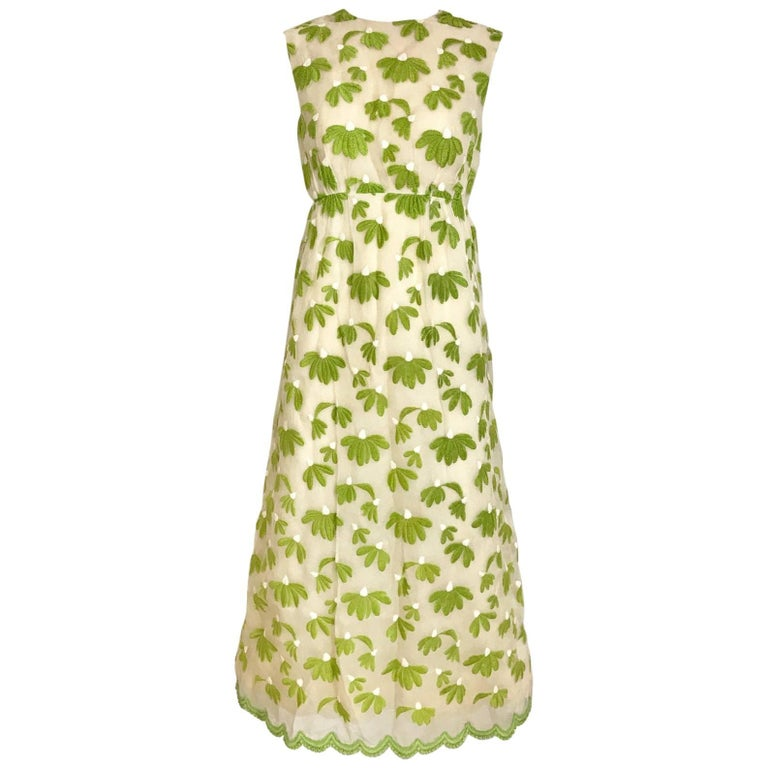 1960s Bob Bugnand Creme and  Green Cotton Embrodered Sleeveless Sheath Dress