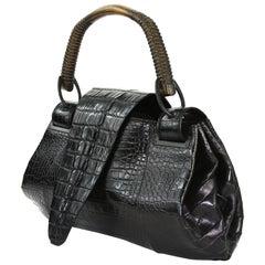 TOM FORD for GUCCI F/W 2002 AD Crocodile Black Handle Bag