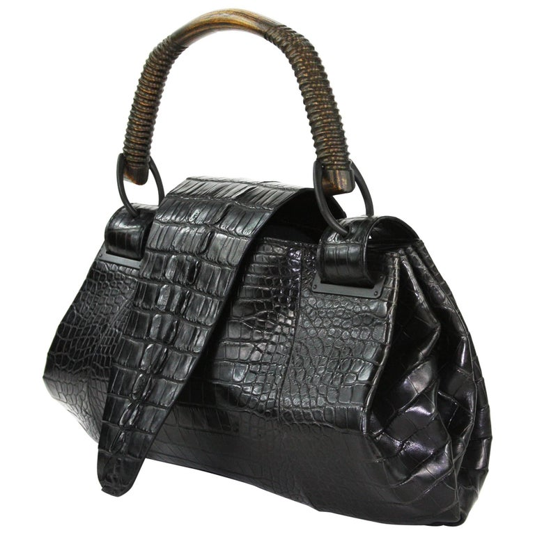 Tom Ford For Gucci F W 2002 Ad Crocodile Black Handle Bag At 1stdibs