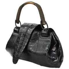 TOM FORD for GUCCI F/W 2002 AD Crocodile Black Handle Bag