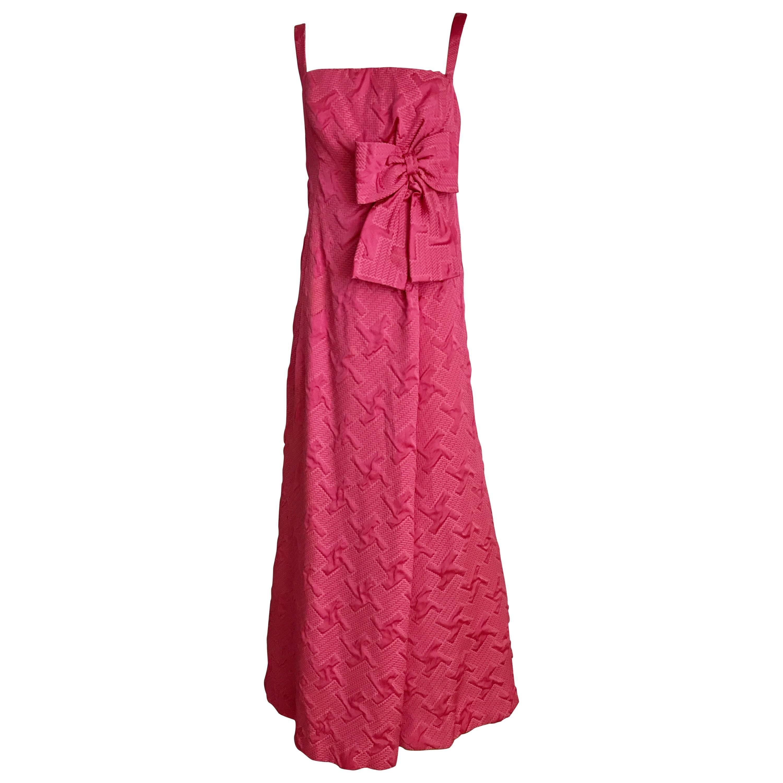 1960s Quilted Magenta Satin Brocade Gown