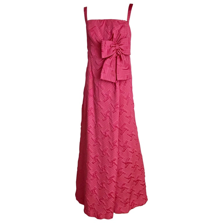 1960s Quilted Magenta Satin Brocade Gown