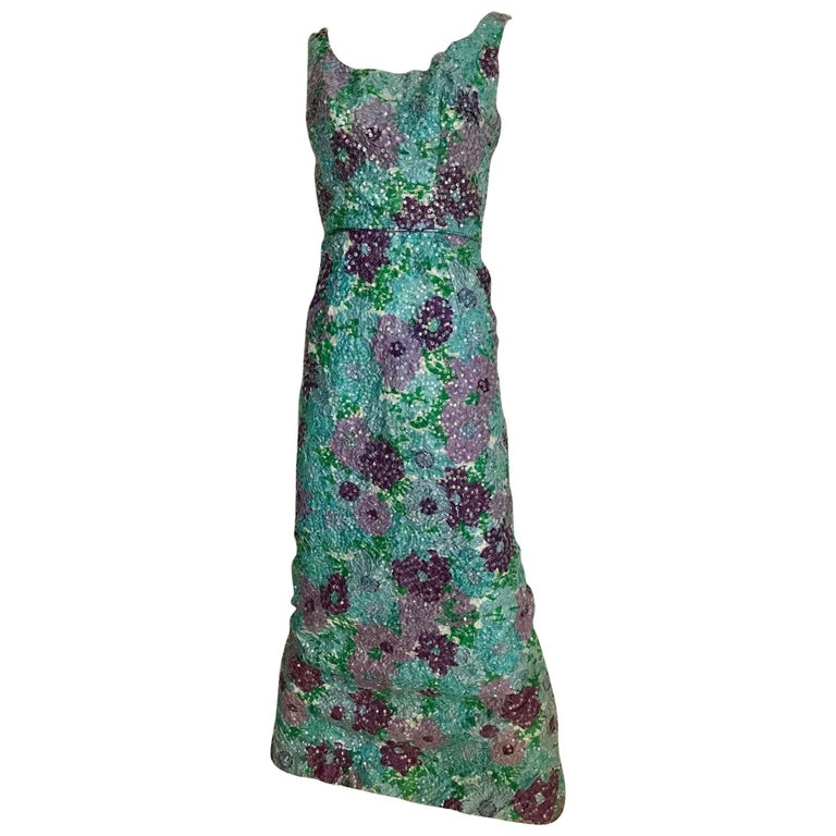 1960s Watercolor  Blue and Purple Floral Print Sleeveless Sheath Dress