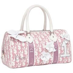 Christian Dior Pink & White Logo Canvas Girly Flowers Boston Tote Bag