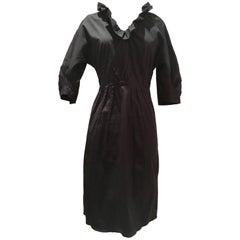 Prada Milano Black Ruffle V-Neck Collar Cotton Dress