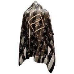 Vintage Prada Milano Logo Stripled Black & Gold Silk Chiffon Scarf
