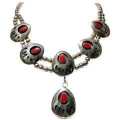 Vintage Navajo Sterling and Coral Disc Squash Blossom Necklace