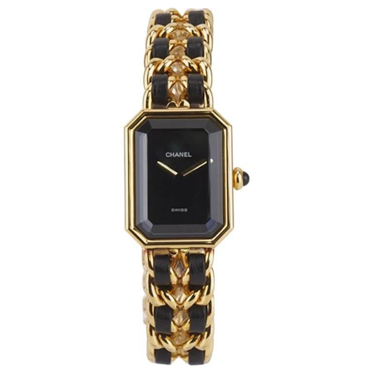Chanel Black Leather Gold Plated Watch  For Sale