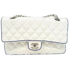 Chanel Classic Double Flap White/Blue Quilting Grosgrain Shoulder Bag