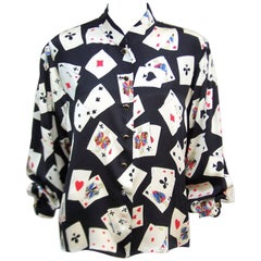 Fun 1980's Ungaro Silk Charmeuse Blouse With Playing Cards