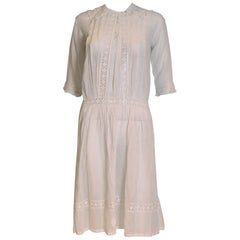 White Cotton Dress with Lace Trim