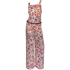Stunning Chanel Logo CC Camellia Print Vintage Silk Jumpsuit with Belt