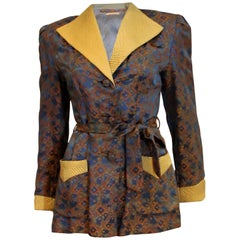Blue and Gold Chinese Silk Jacket