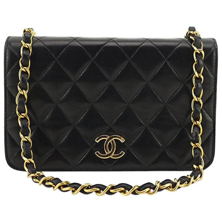 72cee01294a1 Chanel Classic Black Lambskin Leather Quilted Full Flap Shoulder Bag For  Sale