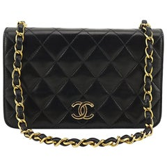 Chanel Classic Black Lambskin Leather Quilted Full Flap Shoulder Bag