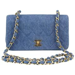 Chanel Light Blue Denim Full Flap Shoulder Bag