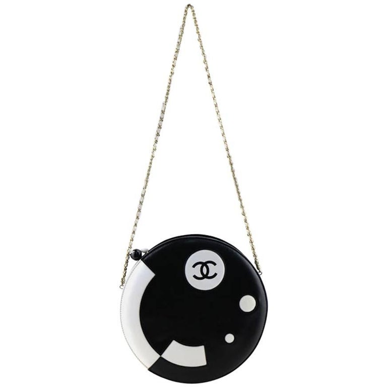Chanel Black and White Lambskin Round Shaped Shoulder Bag For Sale