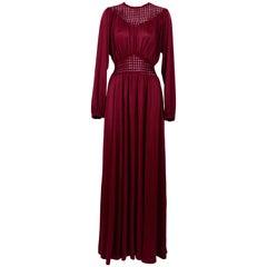 Vintage 1970s Slinky Jersey Red Maxi Dress
