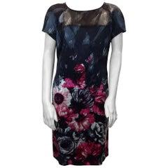 St. John Floral Printed Silk Dress